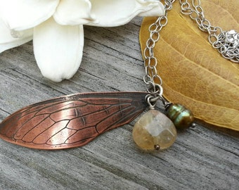 Copper Cicada wing necklace. Gemstone and pearl necklace. Copper insect wing. Imprinted copper wing necklace. Sterling silver chain.