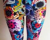 Halloween Spandex Womens Multi colour blue sugar skull skeleton tattoo gypsy day of the dead, dia de los muertos, sugarskull leggings tights