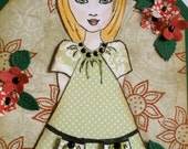 Julie Nutting Paper Pieced Doll Tag or Topper - Girl in Polka Dot Dress
