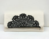 Beige Black Fold Clutch - Clutch Purse with Black Crochet Doily - Cotton Fabric - Zipper Large Bag -  Gift for Her - READY TO SHIP