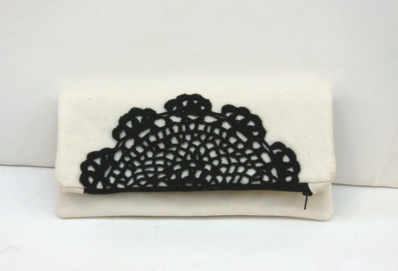 items similar to beige black fold clutch clutch purse. Black Bedroom Furniture Sets. Home Design Ideas