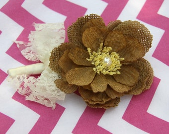 Burlap Boutonniere Lace Bow - Rustic Boutonniere - Fabric Flower Boutonniere - Brown Beige Boutonniere Rustic Wedding (ready to be shipped)