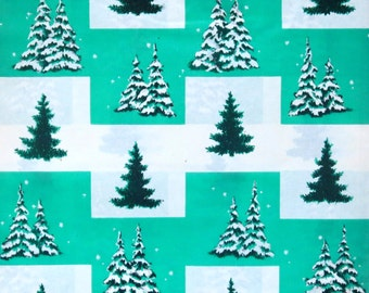 Vintage American Greetings CHRISTMAS Gift Wrap - Wrapping Paper - TREES - 1950s
