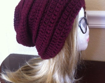 Crochet Slouch Hat - Burgundy