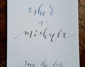 Save The Date, Watercolor Wedding Announcement, Calligraphy