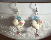 SALE Pink Roses Heart Earrings