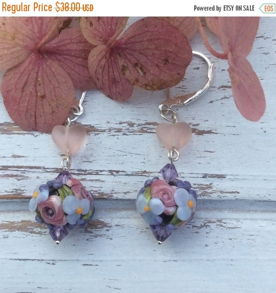 SALE Hearts and Flowers Lampwork Earrings