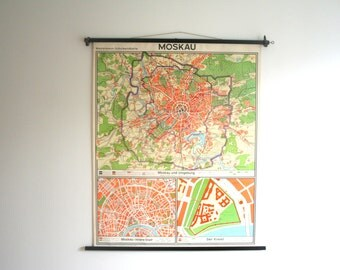 RARE. MOSCOW. Vintage. Large Pull-down Chart. Poster. Map. 1962. (703)