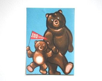 SUMMER SALE 30% OFF!!  Miniature Vintage Zoo Poster 1962 - Bears - Liberec - Czech Republic