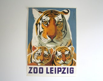 Original Zoo Advertising Poster- Leipzig (GDR/East Germany) 1974 - Tiger design