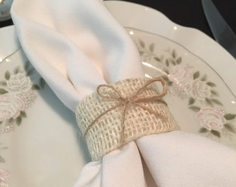 White Burlap Shabby Chic Wedding Napkin Rings Napkin Holders Cream and Tan Burlap Bow Table Decorations