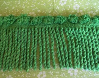 "SALE...Green Vintage Chenille Cabin Crafts Bedspread Fringe 3"" wide, 4 yards (144 inches)."