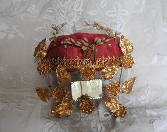 Wedding Stand, French Vintage , Wax  Flower Garland , Velvet Wedding Cushion ,Wax Flower,French Wedding Cushion Napoleon III Mirrors Gilt
