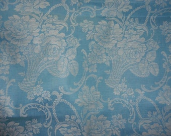 French Vintage Ticking ,Blue Ticking ,  Damask Ticking,Vintage French Roses,1 Yard , Pillows ,24 Yards Available, Upholstery, Dressmaking