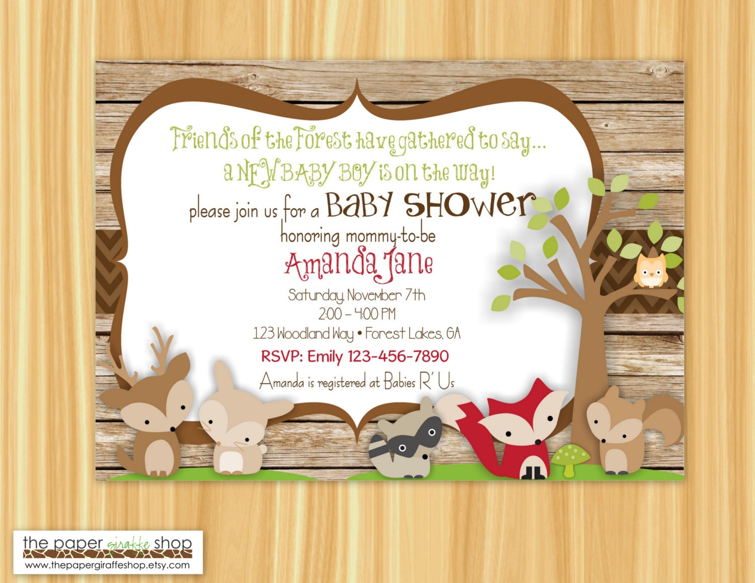 Woodland Creatures Baby Shower Invitation Forest Friends
