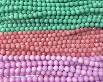 10mm faceted round colorful jade gem beads,full strand, 38 beads