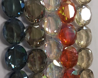 24x28mm oval shaped, faceted, chinese crystals, glass, 10beads, 11mm thick