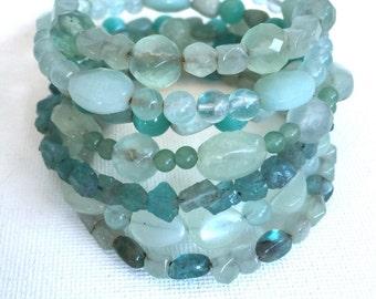 Sea Glass Green Seven Layer Wrap Gemstone beaded memory wire bracelet,  Fluorite, Apatite, Amazonite, Aventurine, New Jade stacked bangle