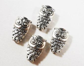 Silver Owl Beads 10x6mm Antique Tibetan Silver Metal Bird Spacer Beads, DIY Jewelry Making, Craft Supplies, 20 Loose Beads per Pack