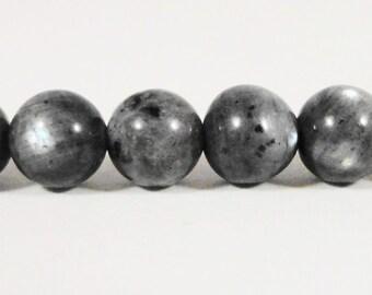 "Larvikite Gemstone Beads 6mm Round Natural Grey Gray Stone with Blue Flash, Black Labradorite Gemstone Beads on a 7 1/4"" Stand with 30 Beads"