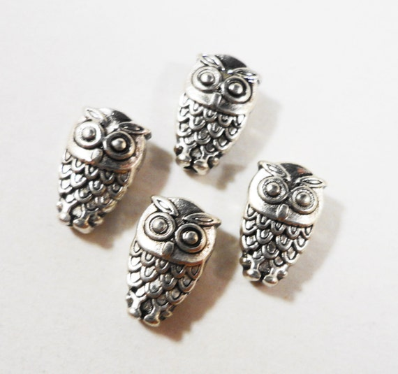 Silver Owl Beads 10x6mm Antique Tibetan Silver Metal Bird Spacer Beads, DIY Jewelry Making, Craft Supplies, 20 Loose Beads per Pack