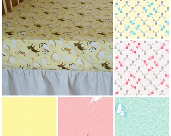 Organic Crib Sheet, Kitties, Cats, Organic Toddler Sheet, Crib Sheet, Crib Bedding, Toddler Bedding, Kittens, Yellow, Organic