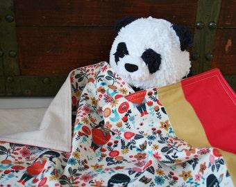 Organic Baby Blanket, Baby Blanket ~ Wildland ~ Baby Girl, Floral, Receiving Blanket, Flannel Blanket, Red, Ready to Ship