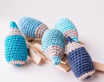Set of five blue pin-pencils