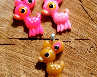 Baby deer pendant with diamante detail by MillyPops - Choice of colour, Chain supplied Kawaii, Kitsch, Fairy Kei, Decora