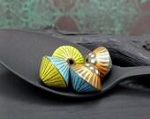 Satin Finish Polymer Bicone Bead Set - Striped Polka Dot Bead - Blue Lime Bohemian Hippie Bicone Bead - 13mm - Pkg. 4