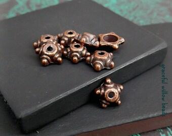 Antique Copper Star Shaped Bead Cap - Boho Hippie Bead Cap - Destash Supplies - Fits 6-8mm Beads - Pkg. 8