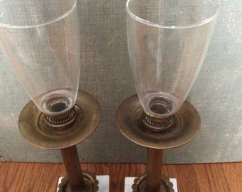Now on Sale- Vintage Pair of  Brass and Marble Candle Holders with Glass Globe