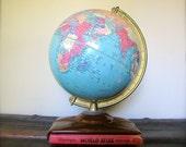 Fabulous Vintage Replogle World Globe Atlas Globe with Book