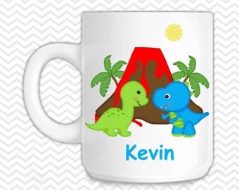 Dinosaur Kids Mug - Personalized Dinosaur Mug - Customized Mug - Melamine Cup - Personalized Kids cup
