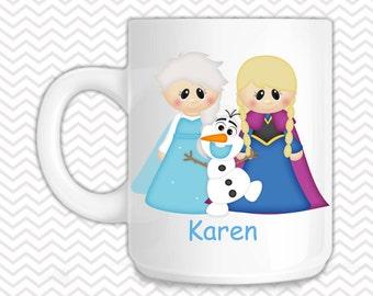 Princess Frozen Kids Mug - Personalized Princess Mug - Customized Mug - Melamine Cup - Personalized Kids cup