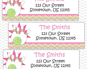 Bowling Pink - Personalized Address labels, Stickers