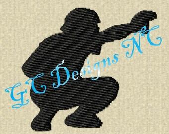 Small Baseball Catcher Embroidery Design