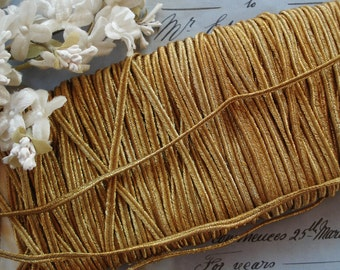 1y Antique French Extra Sparkly Gold Metal Soutache Gimp Twist Metallic Passementerie Cord Trim Twine Ribbon Work Millinery Flowers Costume