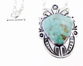 Kingman Turquoise and Silver with stampwork Large Statement Necklace