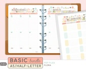A5 BASIC PLANNER BUNDLE  - Printable Planner Inserts - Flora Theme - 21 sheets