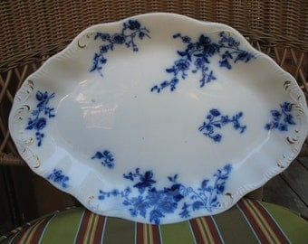 "Antique Flow Blue Platter ""Rose"" Pattern by W.H. Grindley"