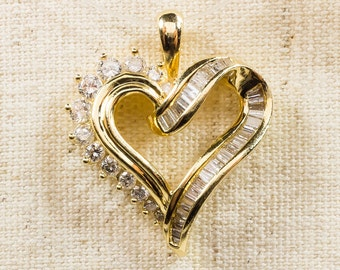 Lovely Sweet 14K Yellow Gold 0.50ctw Round & Baguette Natural Diamond Accented Dainty Sweetheart Love Heart Pendant Slide FREE SHIPPING!