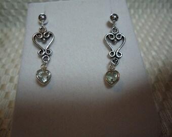 Heart Cut Green Amethyst Earrings in Sterling Silver   1799