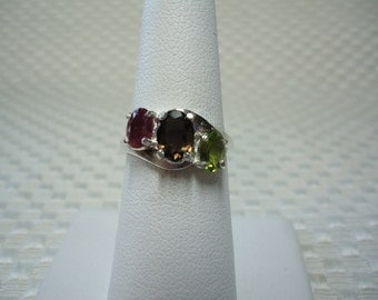 Ruby, Smoky Quartz and Peridot 3-Stone Ring in Sterling Silver  1712
