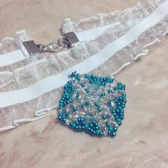 Teal - lace choker