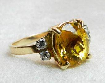 Citrine Ring 2 Ct Citrine Engagement Ring 14K 1930s Citrine Ring Genuine Diamond Ring Unique Engagement November Birthday
