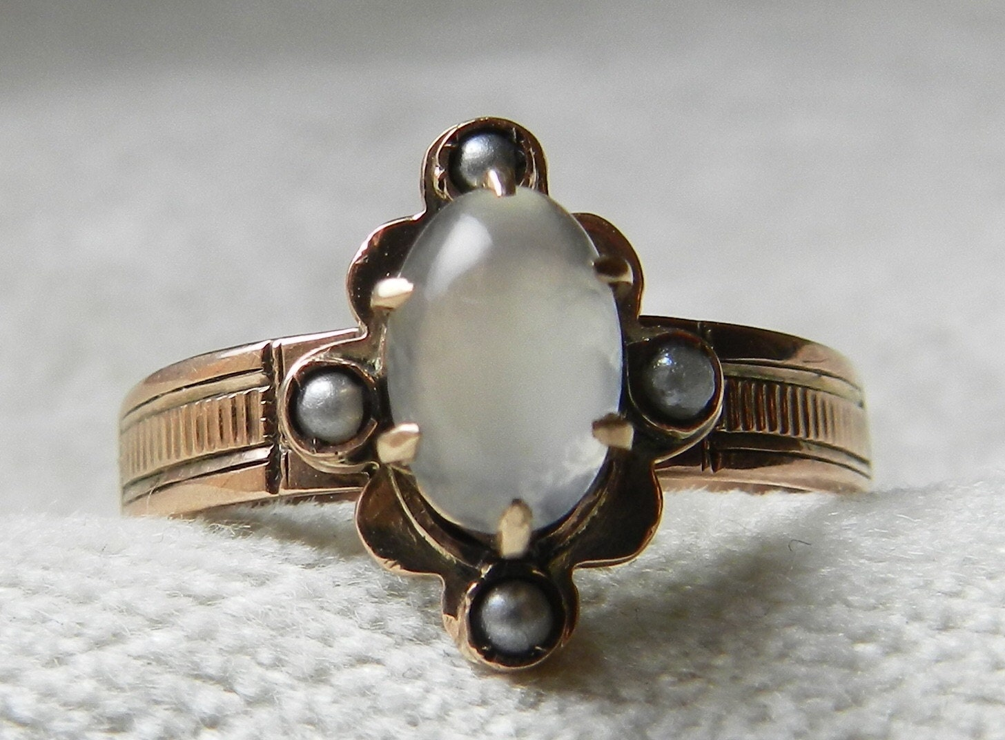 Moonstone Engagement Ring Gold 14K 1800s Victorian Rose Gold