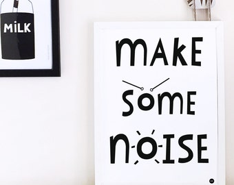 Nursery decor, nursery wall art, Kids decor, monochrome kids wall art, black and white poster, boys room, scandi, typographic print
