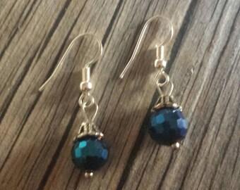 Blue Earrings, Crystal Dangle Earrings, Shimmering Earrings, Hookwire Earrings, Blue Crystal Earrings, Crystal Earrings, Dangle Earrings