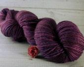 Eggplant Hand Dyed Yarn, DK single ply merino wool, dark purple yarn